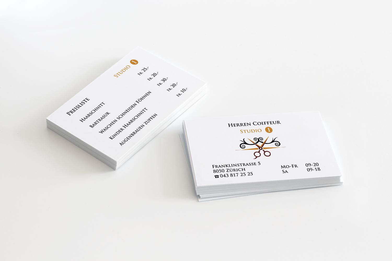 Visitenkarten Für Herren Coiffeur Studio 1